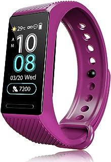 F-FISH Pulsera Actividad HR , Impermeable IP68 Pulsera Inteligente con Pulsómetro, Reloj Inteligente para Deporte, Podómetro, Pulsera Deporte para Android y iOS Teléfono móvil para Hombres Mujeres Niños