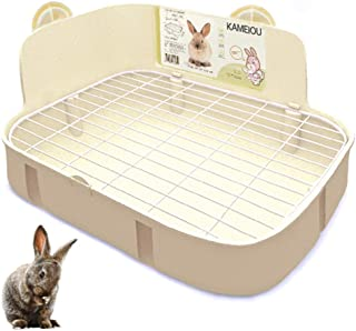 KAMEIOU White Rabbit Litter Box Toilet Ferret Galesaur Guinea Pig Bunny Rabbits Corner Litter Pan Potty Trainer Stainless Steel Panel Small Pets Guinea Pig Bunny Ferret Rabbit Cage Toilet Bedding Box