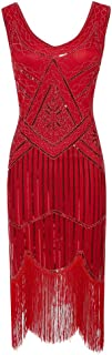 Women's Flapper Dresses 1920s V Neck Beaded Costume Fringed Sequin Great Gatsby Dress Evening Party Cocktail Dress