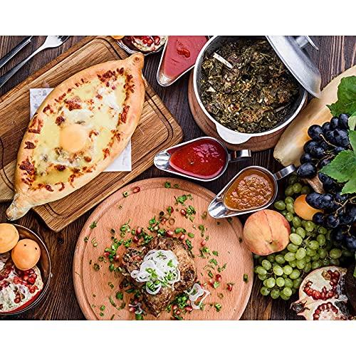 Weibing Decoración de Bricolaje Pintura en Lienzo Pastel de Vino Brochetas de Carne Personalizable Arte de la Pared Decoración Cocina Viva Restaurante 50x70cm (19.68x27.55 in) Q-3140
