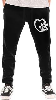 shenguang Labrador Retriever Love Heart Paw Pantalones Deportivos con cordón y Cintura para Hombre con Bolsillo