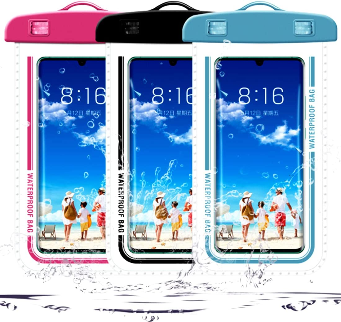 """Universal Waterproof Phone Pouch 3 Pack, Annymall IPX8 Underwater Phone Case Dry Bag for iPhone 12 Pro Max 11 XR XS Max X 7/8 Plus Galaxy A12 S21 S20 Note 10 S9 UP to 7"""" (Multi Color)"""