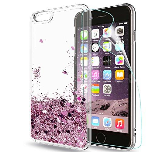 LeYi Custodia iPhone 6 Plus / 6S Plus Glitter Cover con HD Pellicola,Brillantini Trasparente Silicone Gel Liquido Sabbie Mobili Bumper TPU Case per iPhone 6 Plus / 6S Plus Donna ZX Rose Gold