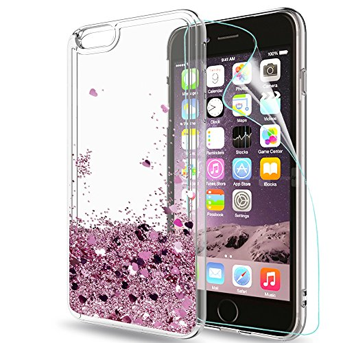 LeYi Custodia iPhone 6 Plus / 6S Plus Glitter Cover con HD Pellicola,Brillantini Trasparente Silicone Gel Liquido Sabbie Mobili Bumper TPU Case per iPhone 6 Plus / 6S Plus Donna ZX Rose Gold