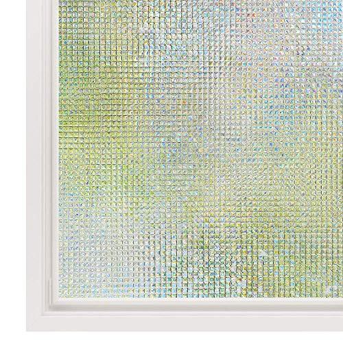 Rabbitgoo 窓 めかくしシート ガラスフィルム 目隠し 断熱 リメイク 無接着剤 貼ってはがせる 窓用フィルム シール ステンドグラス 窓に貼るカーテン 外から見えない 平たなガラス面に適用 モザイク 飛散防止 (湖輝 60 x 200cm)
