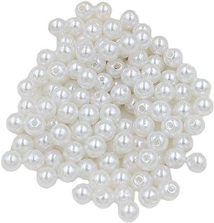 Homyl 130 peças de imitação de pérolas soltas contas para artesanato faça-você-mesmo de joias branco 8 mm