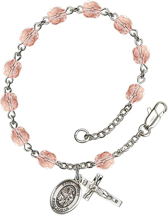 7 1//2 Inch May Birth Month Bead Rosary Bracelet with Patron Saint Petite Charm