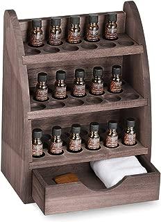 LIANTRAL Essential Oils Storage Rack, Wooden Nail Polish Display Holder Organizer- 45 Slots for 10/15/20/30ml Bottles (Espresso)