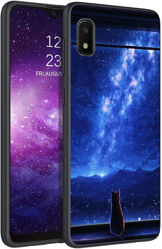 Esakycn for Galaxy A10e case, Phone Case Silicone Black with Rose Pattern Design Ultra Slim Shockproof Soft TPU Girls Women Protective Cover Skin for Samsung Galaxy A10e 5.83 inch. Cat 2
