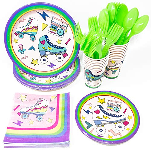 Roller Skating Party Supplies (113+ Pieces for 16 Guests), Retro Party Plates, Birthday Decorations, Napkins, Cups, Forks, Spoons, Party Tableware