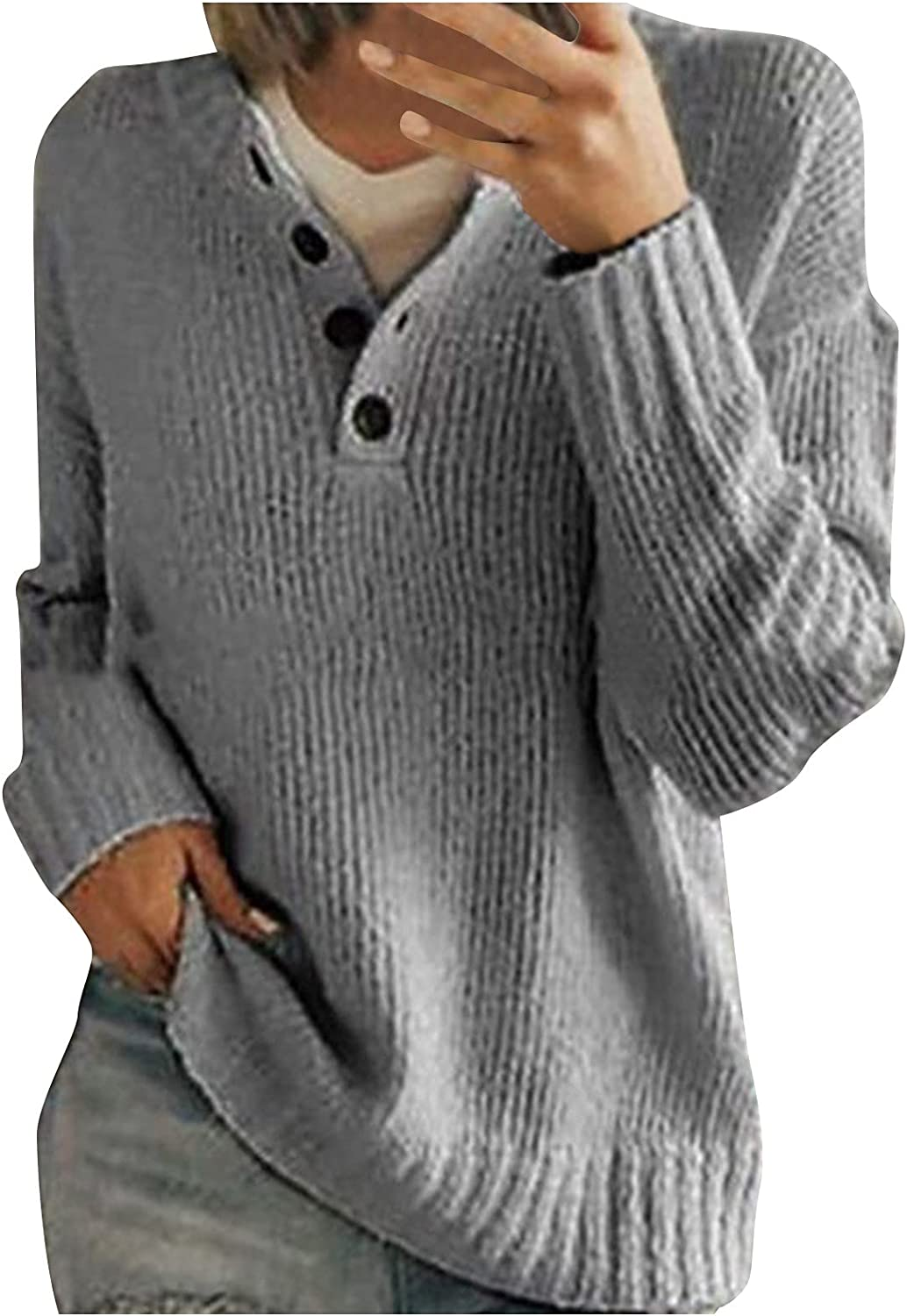 Sweaters for WomenV Neck Sweater Long Sleeve Knit Button Sweater Solid Color Tops Slim Fit