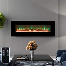 Top Space Wall Mount Fireplace 48 Inch Electric Fireplace Heater with Remote Control Timer, Adjustable Log or Crystal Flam...