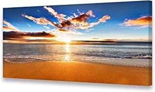 S04162 Canvas Prints Wall Art Sunrise Beach Painting Nature Pictures Ocean Waves Arotwork Framed Ready to Hang Walls Beach Theme for Living Room Wall Decor Home Office Decoration 24x48inch