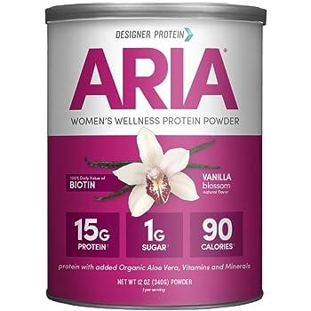 Designer Protein Aria, Vanilla, 12 Oz, Women's Wellness Protein Powder, Made in the USA