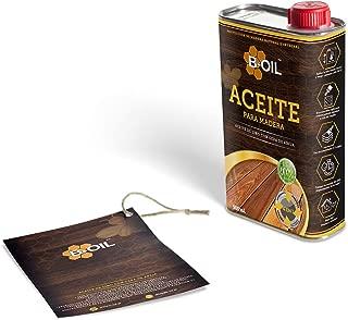 B-Oil. Impregnación de madera natural, a base de aceite de semillas de lino y cera de abejas, 100% ecológico, para uso externo e interno, destaca la textura natural de la madera, terminación satinada
