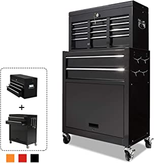 Rolling Tool Box 2 in 1 Versatile Tool Chest with 8 Drawers and 4 Wheels, Lockable Tool Cabinet Sturdy Tool Storage Box for Garage and Workshop,Black