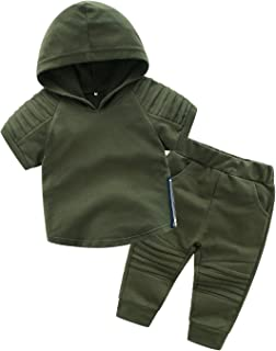 Boys Casual Breathable Hoodie Sweatshirt Sports Clothes Sets Kids Outfits Tracksuit Short-Sleeve Tops+Pants
