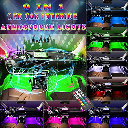 Interior Car Lights - Car LED Strip Light,5pcs LED Head 8meters Fiber Optic with 4pcs Footwell Lights - 9 in 1 Music RGB Atmosphere Lighting Kits, Sound Active Function and Wireless Remote Control