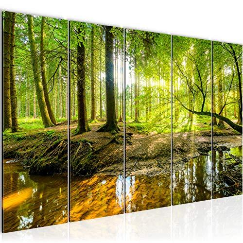 Bilder Wald Landschaft Wandbild 200 x 80 cm Vlies - Leinwand Bild XXL Format Wandbilder Wohnzimmer Wohnung Deko Kunstdrucke Grün 5 Teilig - MADE IN GERMANY - Fertig zum Aufhängen 611755a