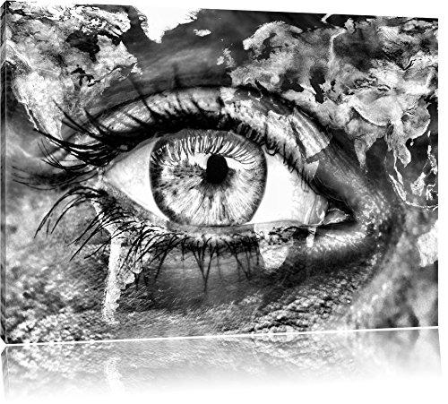 Pixxprint Erde auf EIN Gesicht als Leinwandbild | Größe: 80x60 | Wandbild| Kunstdruck | fertig bespannt
