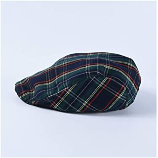 SHENTIANWEI Plaid Cap Female Student British Retro Painter Hat Men's Casual Beret (Color : Green, Size : M56-58cm)