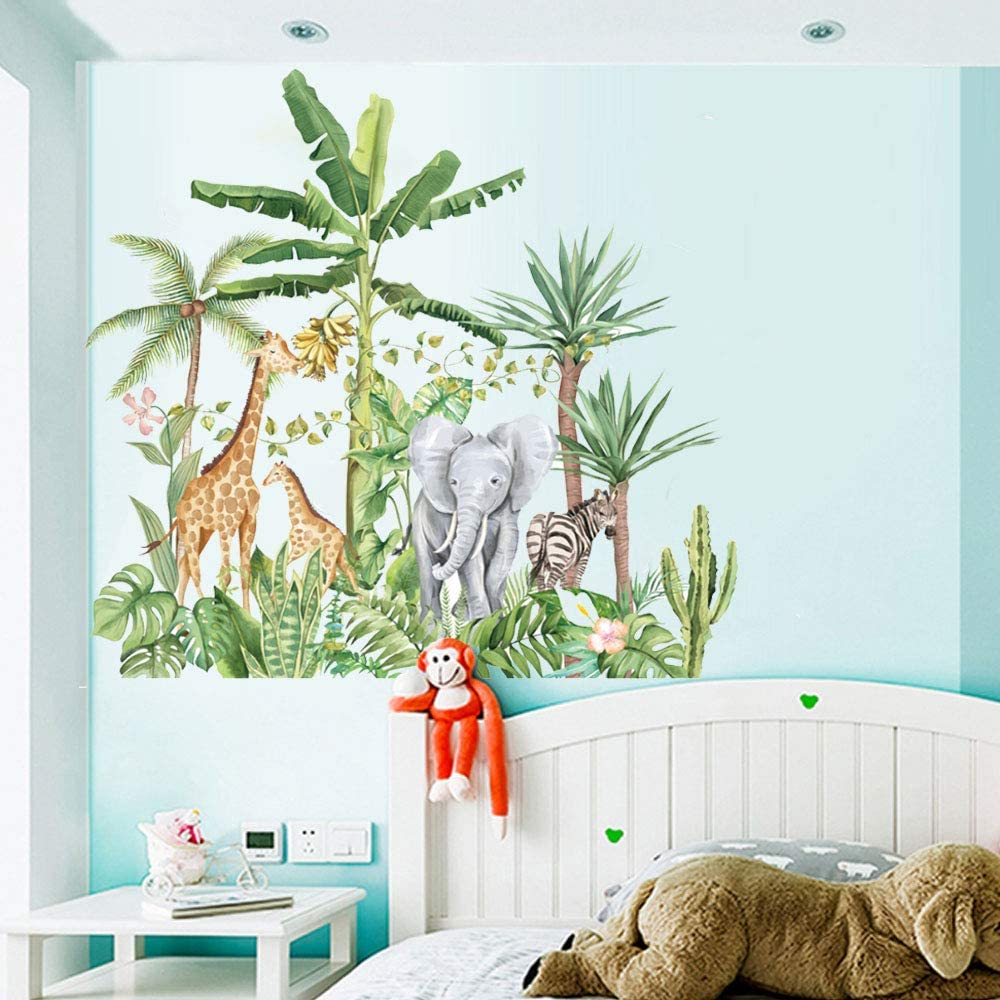 Buy Jungle Animal Wall Decals Safari Animals Wall Stickers Tropical Rainforest Wall Decor Mural Elephant Giraffes Zebras Palm Trees For Nursery Kids Bedroom Playroom Online In Vietnam B0927qxlv4