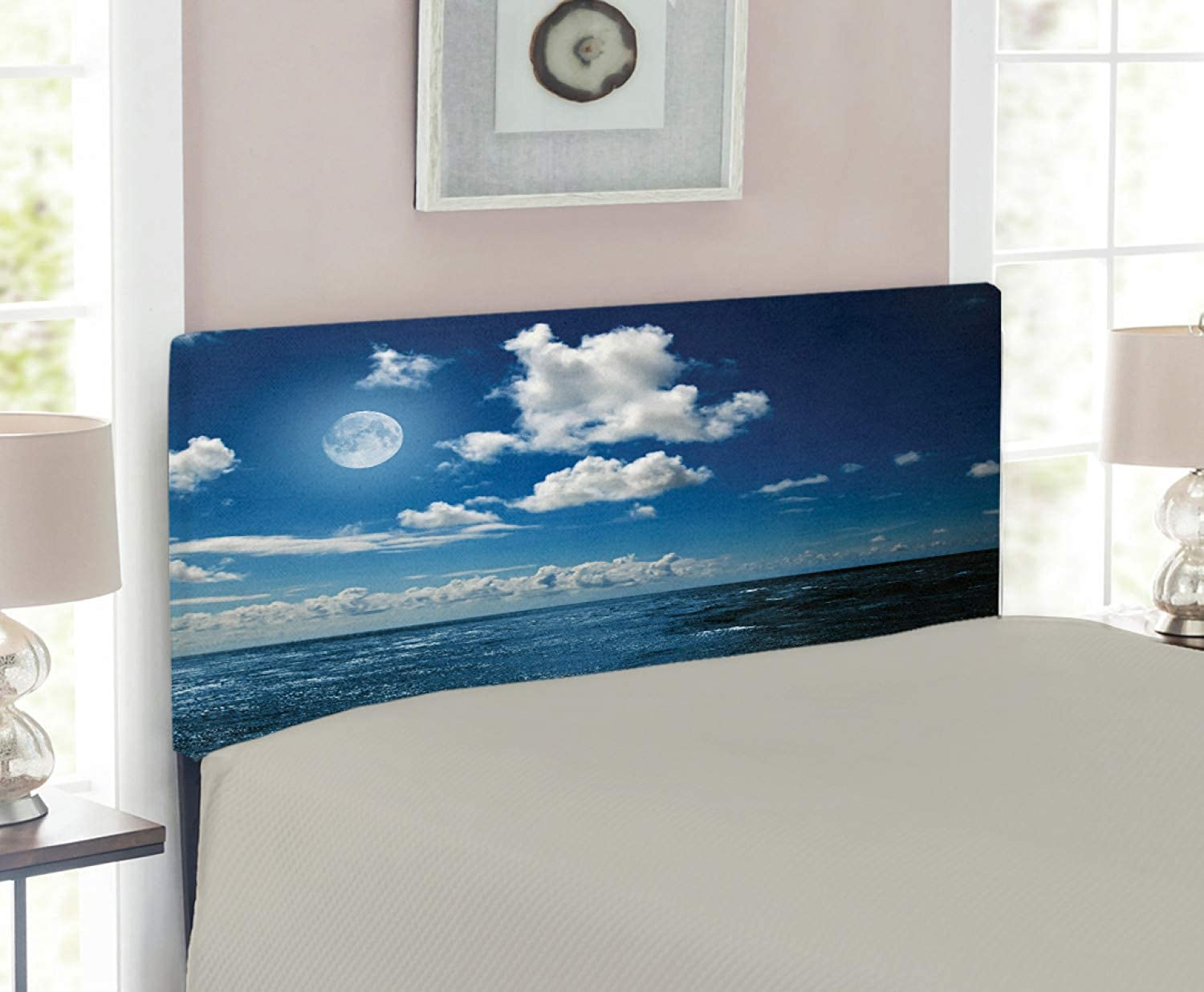 Lunarable Ocean Headboard for Twin Size Bed, Full Moon Night Sky and Wavy Ocean Horizon with Clouds Romantic Scene Image, Upholstered Decorative Metal Headboard with Memory Foam, Navy bluee and White
