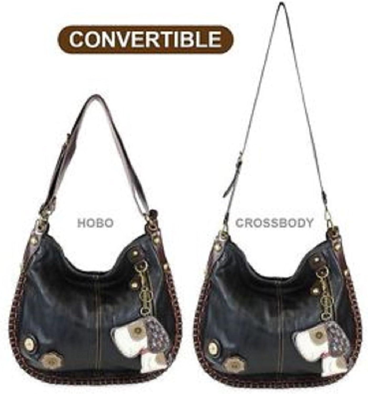 Chala Handbag Charming Hobo Large Tote Bag TOFFY DOG Black Vegan leather Congreenible