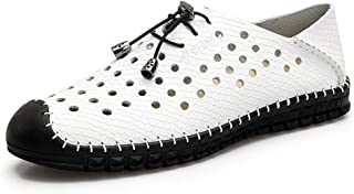 Xujw-shoes, Mens Summer Slippers Outdoor Water Sandals for Men Anti Slip Lace UP Style Microfiber Leather Snake Hollow Simple Solid Color Soft Classical