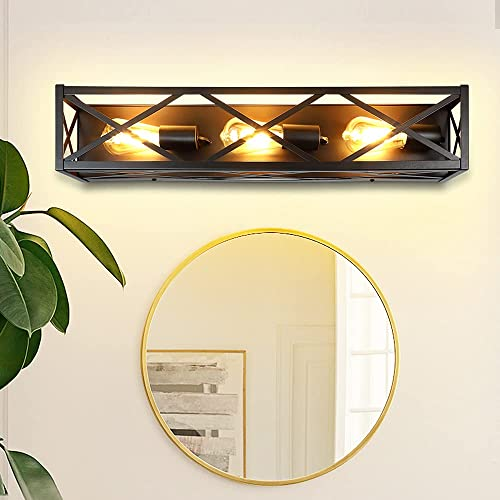 2021 DLLT Industrial Wall Lamp outlet sale Fixture, 3-Light Vanity Light for Bathroom, Vintage Black Metal Farmhouse Wall Sconces for Hallway, Stairway Entrance, Dining Room, Patio, Easy Installation new arrival (E26 Base) online