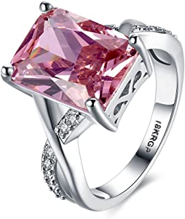 Swarovski Crystal Rings Sterling Silver for Women Pink White Gold Plated Size 6-9 Jewelry