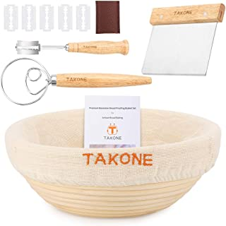 TAKONE Premium Banneton Proofing Basket Set, Include 9 Inch Round Sourdough Bread Bowl+Dough Scraper+Bread Lame+Danish Dough Whisk+Brotform Cloth Liner, Great Gift for Bread Bakers