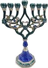 Fenteer Menorah Candle Holder Handpainted Judaica Candelabra Geometric Style Home Classic Decor Centerpieces - D
