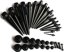Zaya Body Jewelry 16g-00g Ear Stretching Kit Black Plugs and Tapers 00g 0g 2g 4g 6g 8g 10g 12g 14g Gauges Plus Instructions
