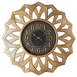Pacific Bay Alsfeld Large Decorative Light-Weight Non-Metallic 20-inch Wall Clock Silent, Non-Ticking, 3-D Aluminum Dial, Easy-to-Read, Quartz Battery Operated, Glass Face Cover