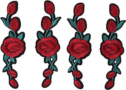 Walfront 2 Paires Patch de Fleur Rose Patch de Coudre Patchs Motif ...