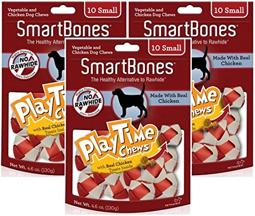 (3 Pack) SmartBones PlayTime Small Chicken Chew Treats for Dogs - 10 Bones per Pack