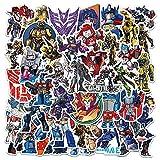 YZFCL Pegatinas de Transformers para niños con dibujos animados Autobots Bumblebee Optimus Prime para equipaje, impermeables, 50 unidades
