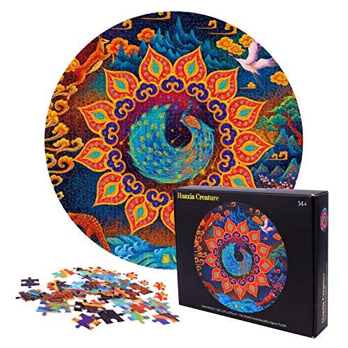 Herefun Puzzle 1000 Pezzi Adulti, Round Puzzle Paesaggio Animale, Jigsaw Puzzle Puzzle Circolare, Puzzle Classici Puzzle Difficile, Educativo Regalo per Famiglie Bambini Adulti (Pavone)