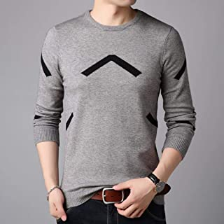 YANGPP Men's Striped Knitted Wool Sweater O Neck Warm Pullover Mens Sweaters for Pull Homme Pullover Men