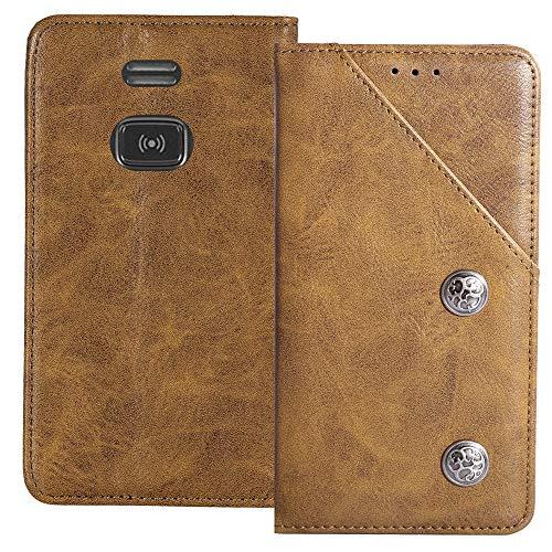 YLYT Flip Braun Schutz Hülle Hülle Für Doro PhoneEasy 508 X Etui Leder Tasche Handyhülle Hochwertiges Stoßfeste Kartenfach Cover