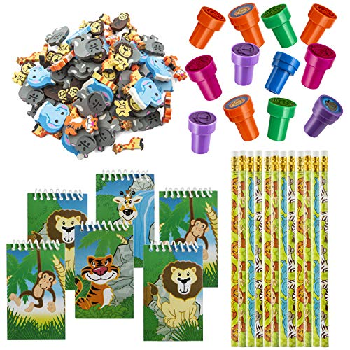 Favonir™ Zoo Stationery Party Favors 84 Gift Pack – 48 Erasers – 12 Animal Notepads – 12 Pencils – 12 Stickers - Kids Party Supplies Bulk Set - Ideal As Safari Party Favor Novelty Goody Bag Stuffer, Reward Prizes, Carnival And Birthday Events.
