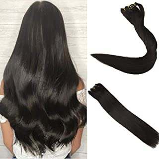 Easyouth 16inch 100 Real Remy Hair Clip ins 1B Off Black 100g 7Pcs per Set Brazilian Straight Hair Double Weft Clip on Hair Extensions
