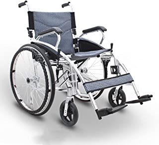 SHOWGG Lightweight Wheelchair Portable Folding Transport Wheelchair Comfortable Armrest and Backs Elderly, Disabled, Rehabilitation Patient Advanced Nursing Cart
