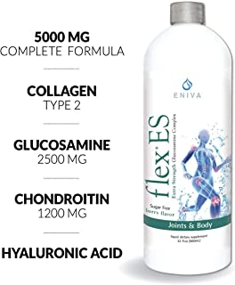 Eniva Liquid Glucosamine Joint Supplement. Extra Strength 5000mg: Glucosamine Chondroitin MSM Collagen Hyaluronic Acid, Plus More. Zero Sugar. Keto Friendly. Dr. Formulated. FlexES (32oz).