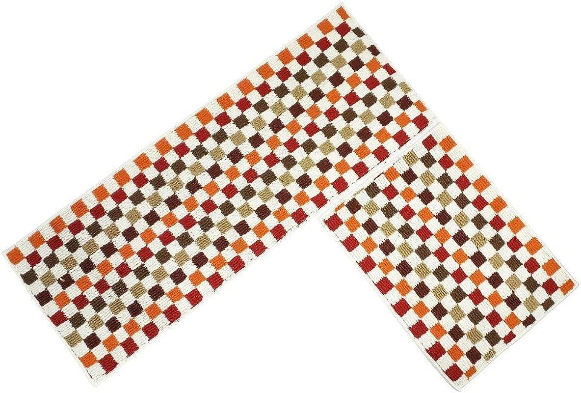 EUCH Non Slip Rubber Backing Carpet Kitchen Mat Doormat Runner Bathroom Rug 2 Piece Sets 17 X47 17 X23 Red Mosaic