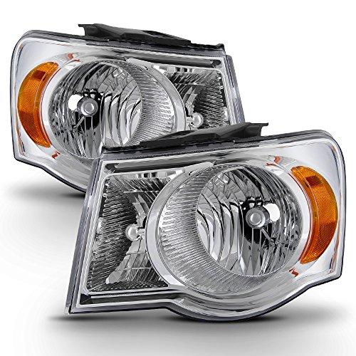 ACANII - For 2007-2009 Chrysler Aspen Chrome Headlights Headlamps Head Lights Lamps Replacement Driver + Passenger Side