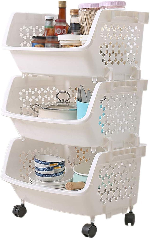 HUYP Bedroom Bathroom Storage Shelf Shelf Kitchen Mobile 3 Storey Home Supplies (color   White)
