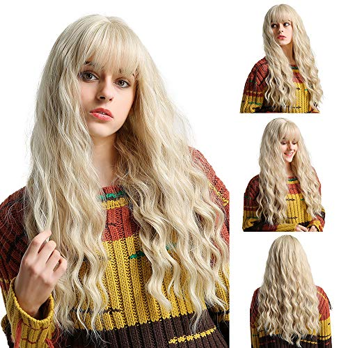 EMMOR Lange blonde Perücke für Frauen - Natürliches synthetisches Haar Mittelteil Wellige lockige Perücken, Party Cosplay Täglicher Gebrauch