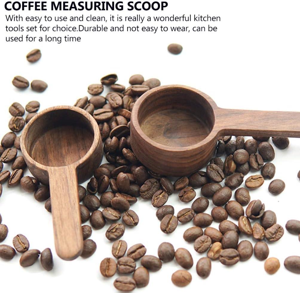 Wood Coffee Measure Scoop for Coffee Beans or Tea YARNOW Short Handle Coffee Scoop 10g Wooden Coffee Spoon in Black Walnut